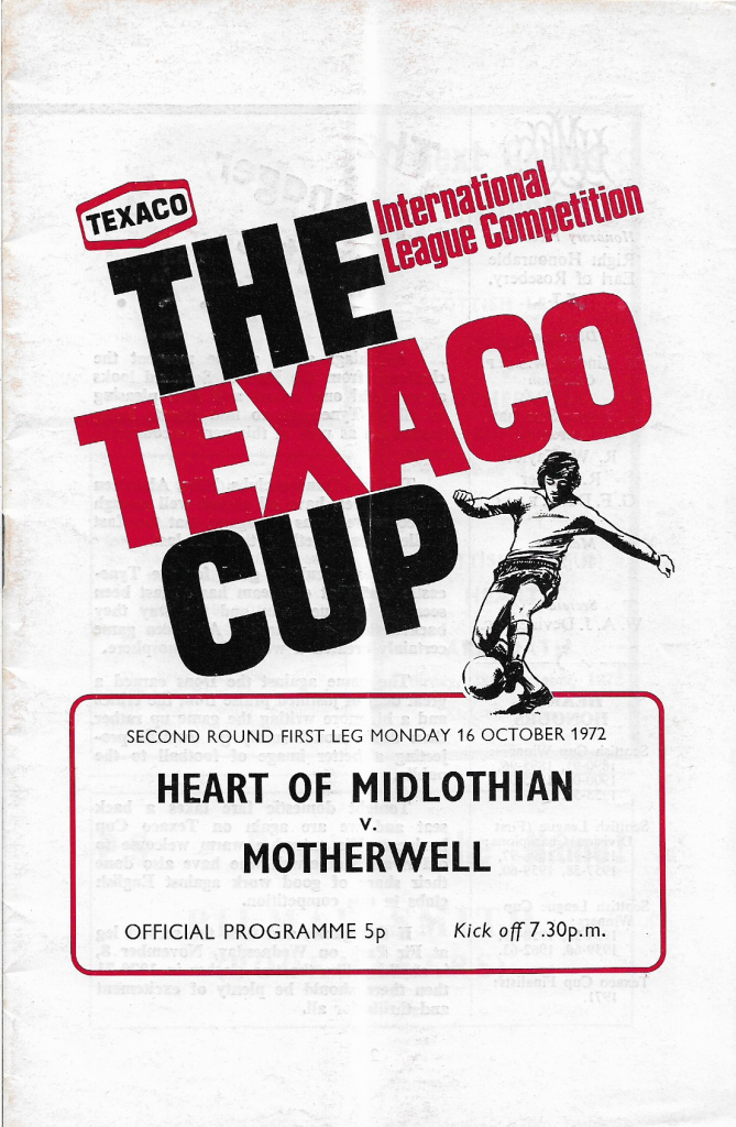 Texaco Cup - Hearts Programme Cover
