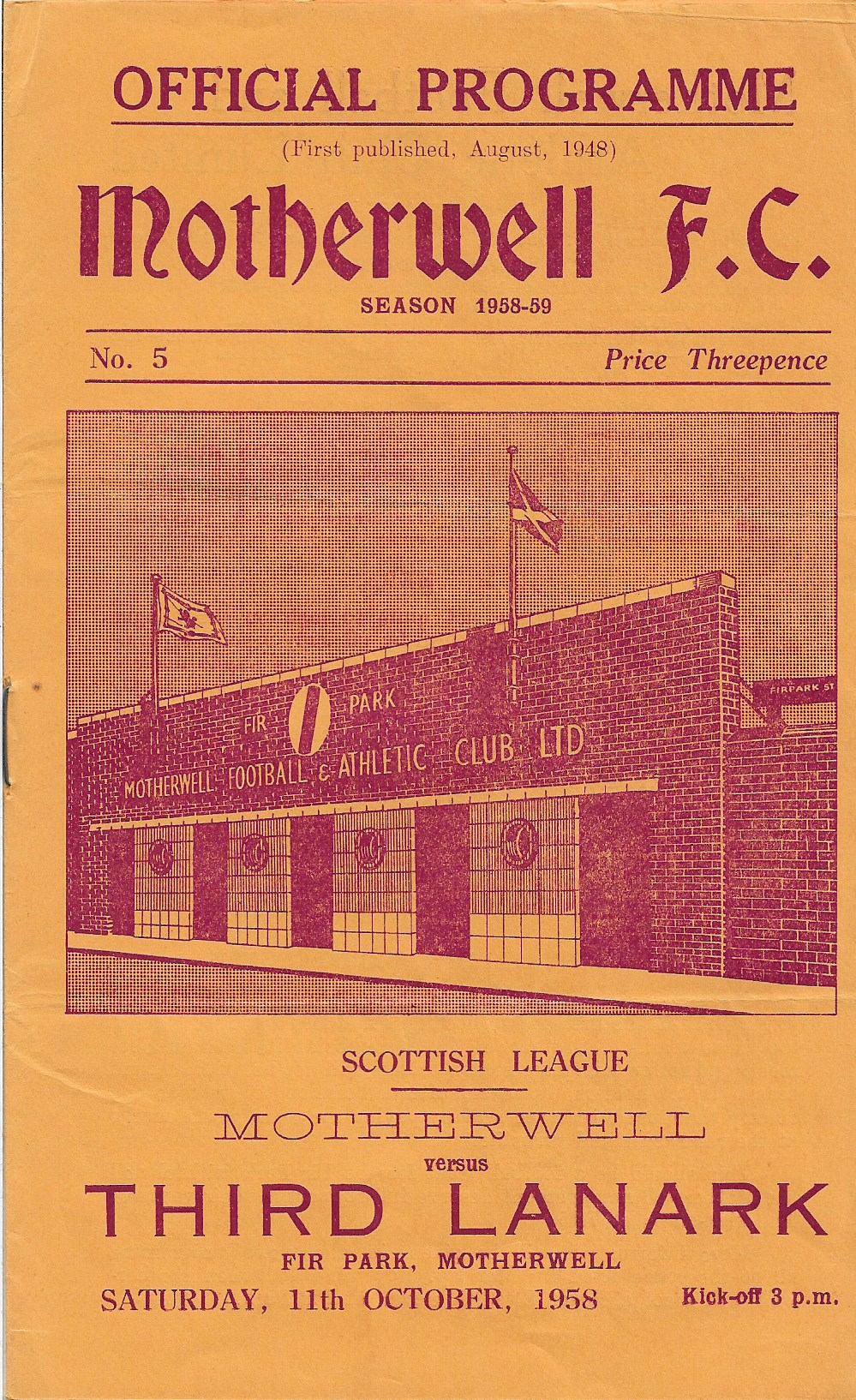 Third Lanark 11th October Programme Cover