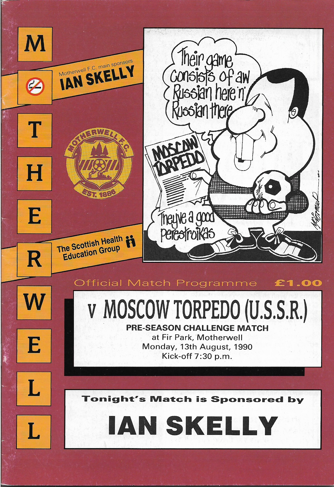 Programme Cover versus Moscow Torpedo