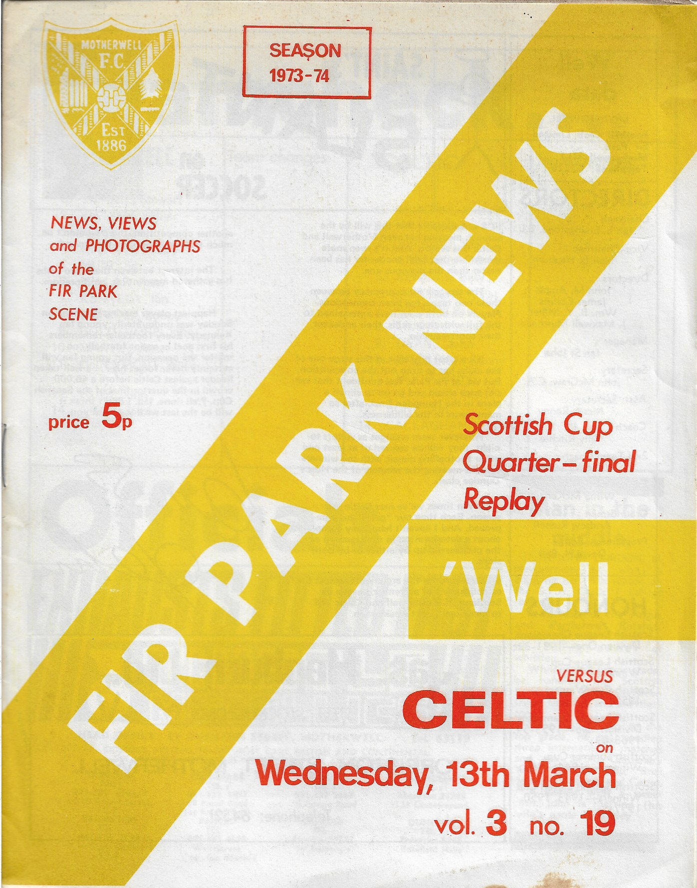 Programme Cover versus Celtic