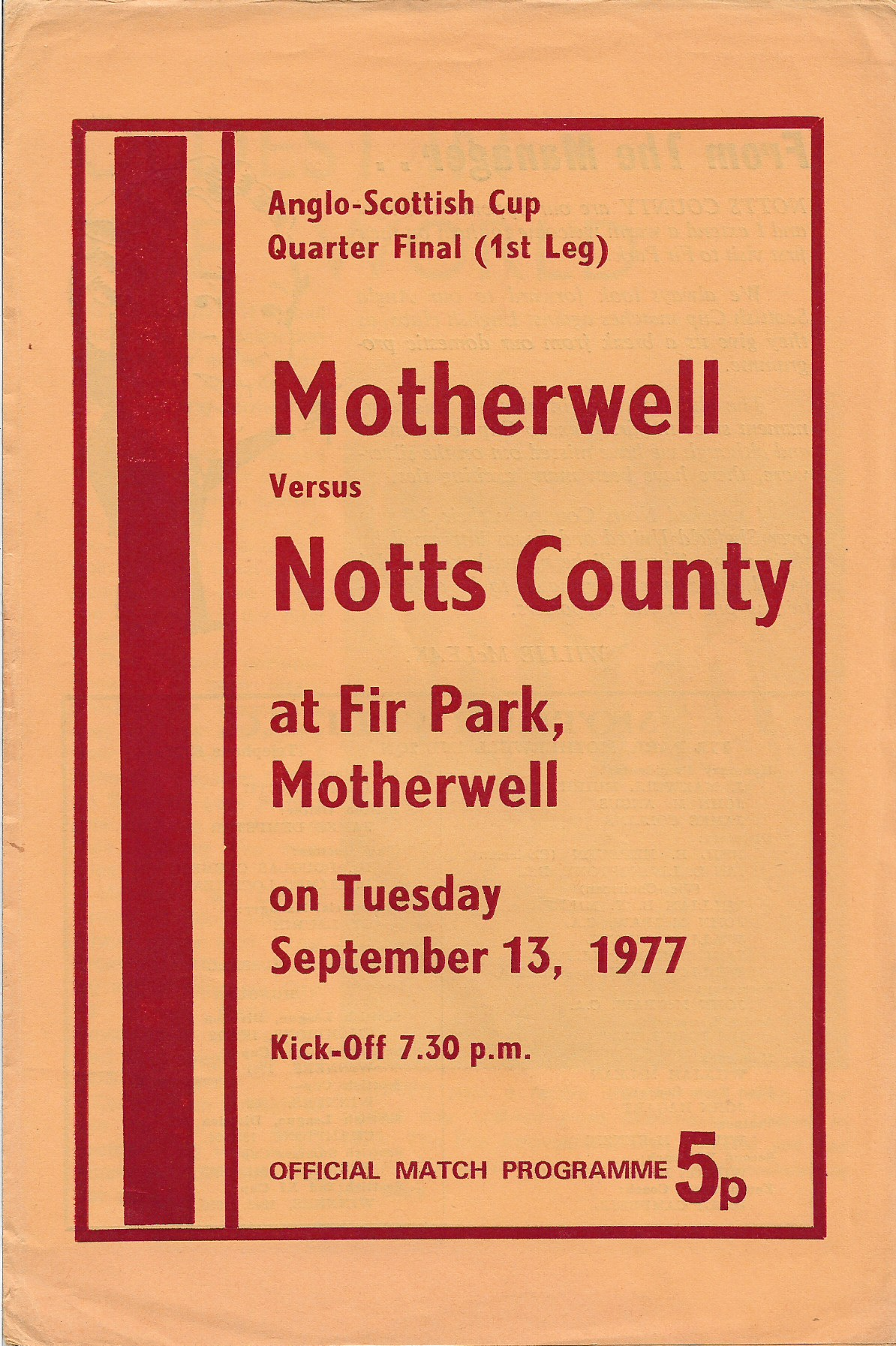 Programme Cover versus Notts County