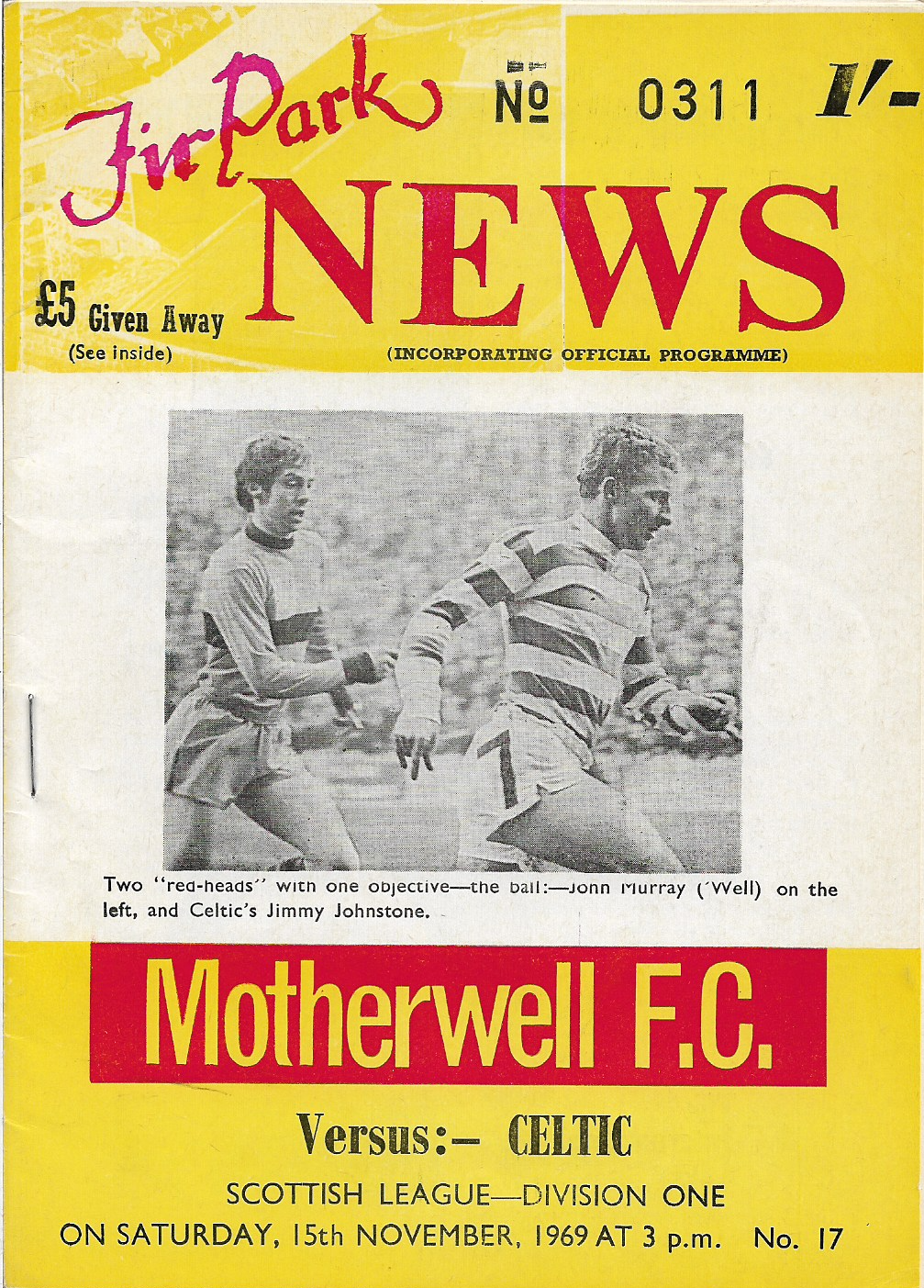 Programme Cover versus Celtic