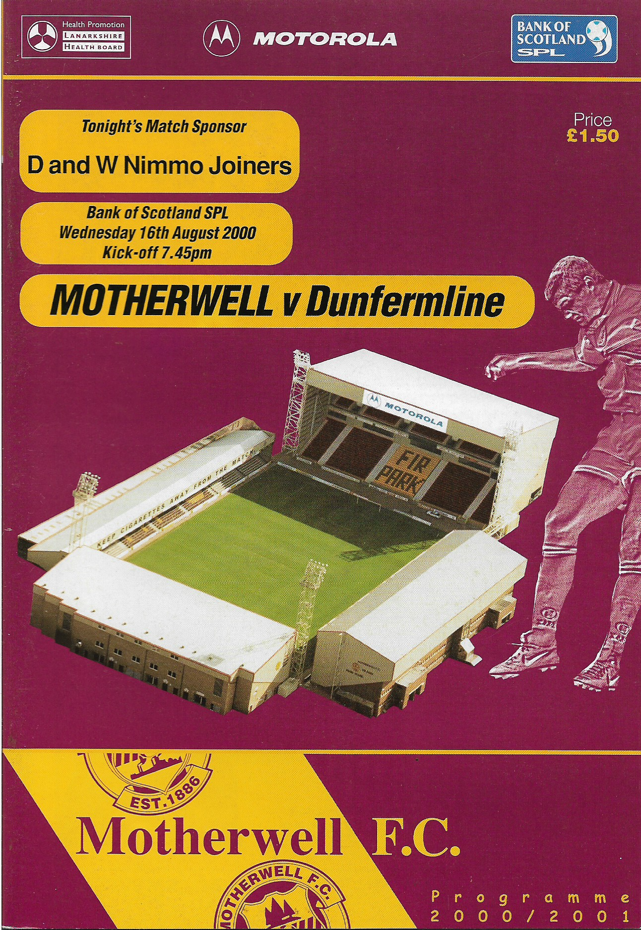 Programme Cover versus Dunfermline