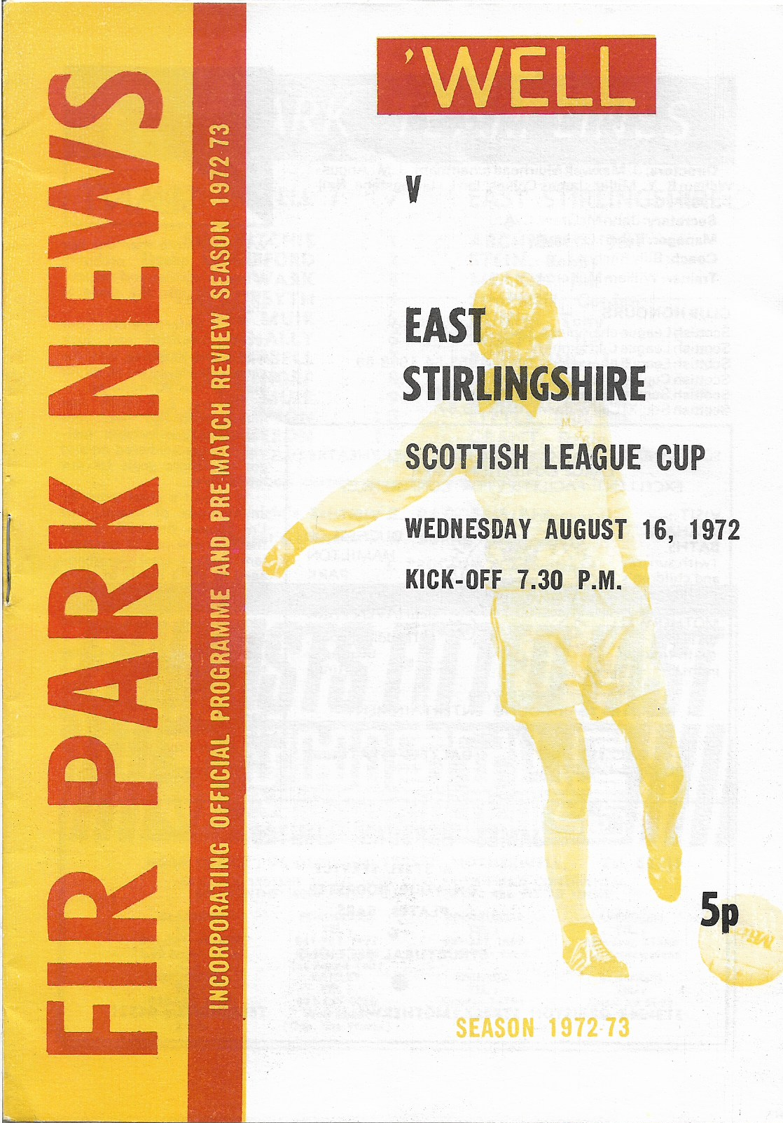 Programme Cover versus East Stirlingshire