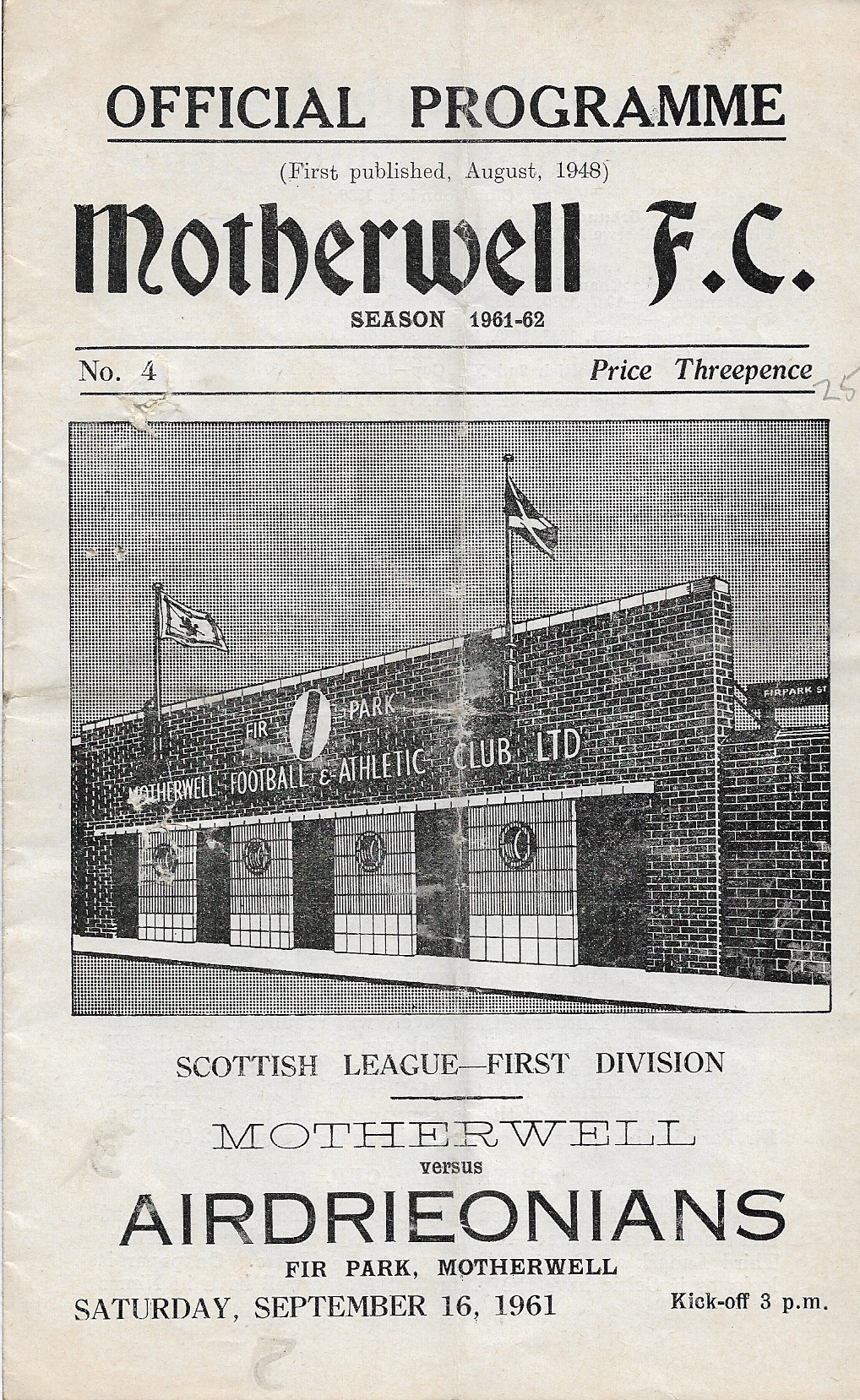 Programme Cover versus Airdrieonians
