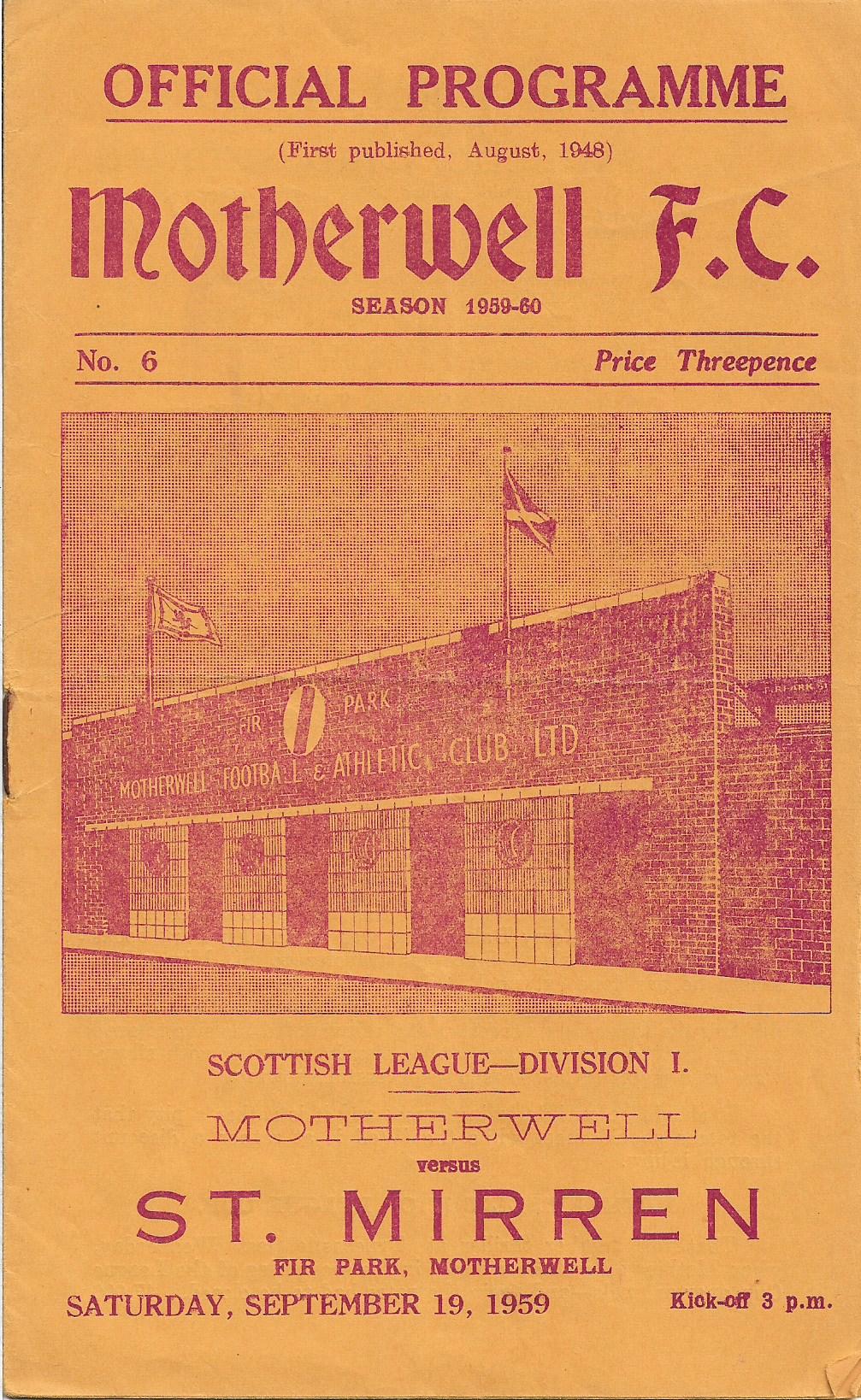 St Mirren Programme Cover - 19th September