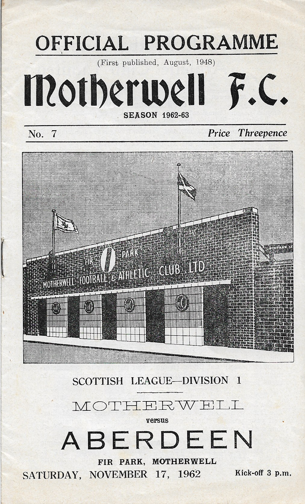 Programme Cover versus Aberdeen