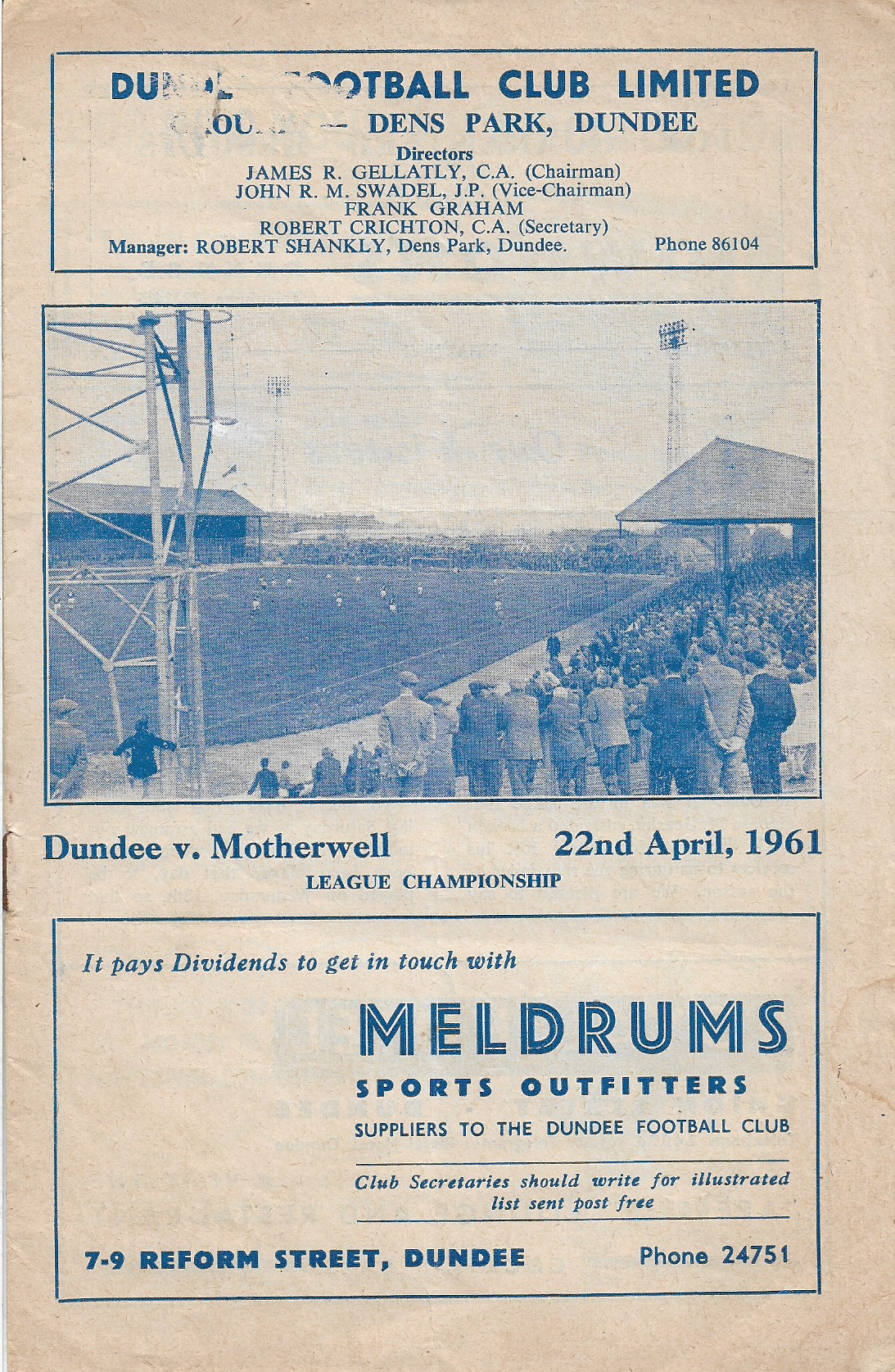 Dundee Programme 22nd April 1961