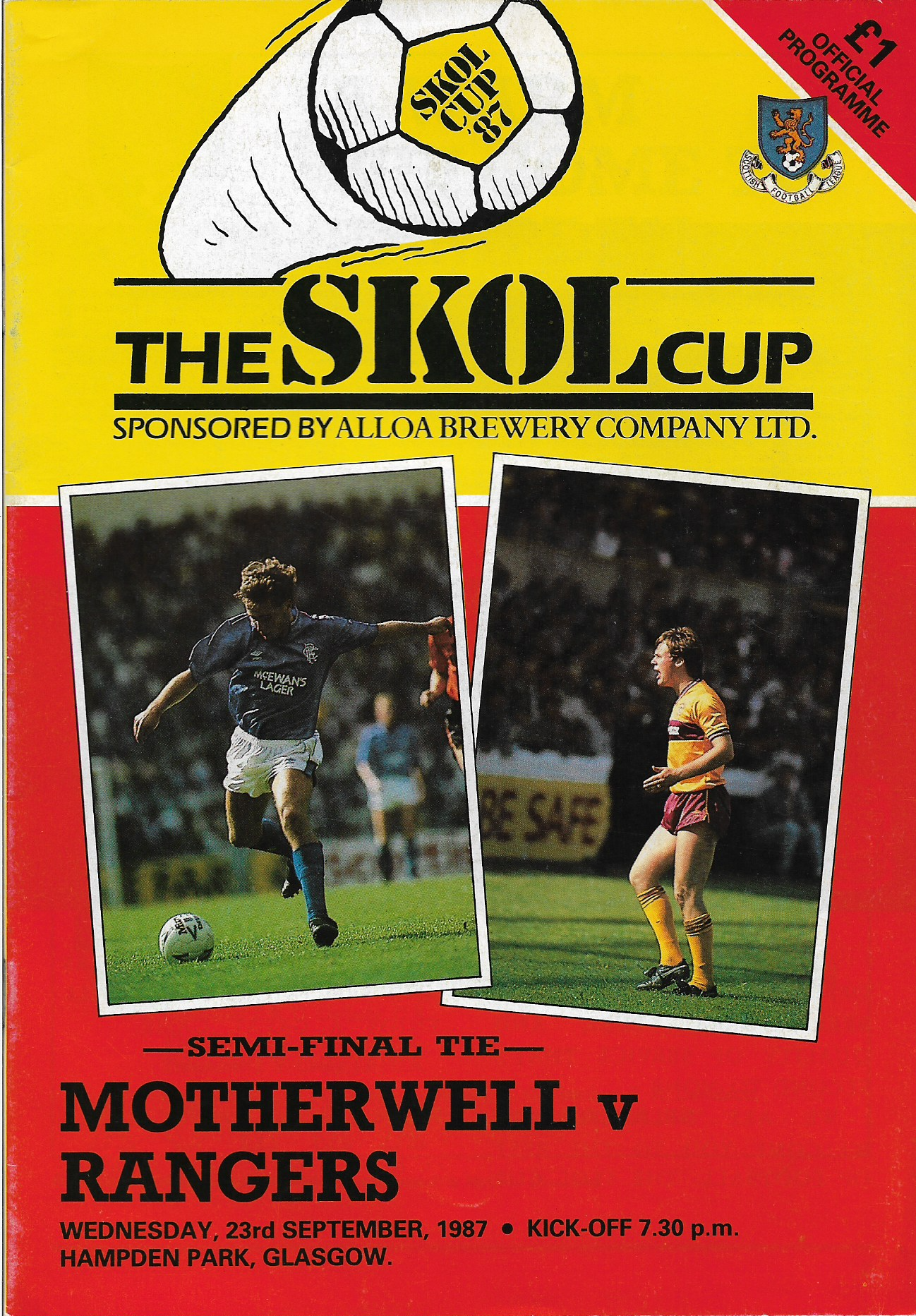 Programme Cover versus Rangers - League Cup Semi Final