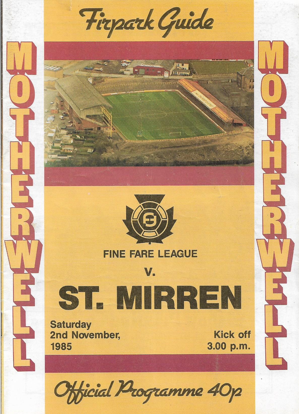 Programme Cover versus St Mirren