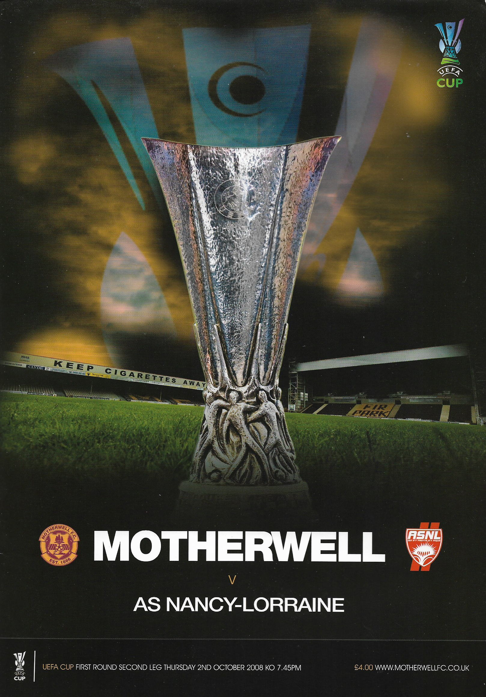 Programme Cover versus AS Nancy - UEFA Cup