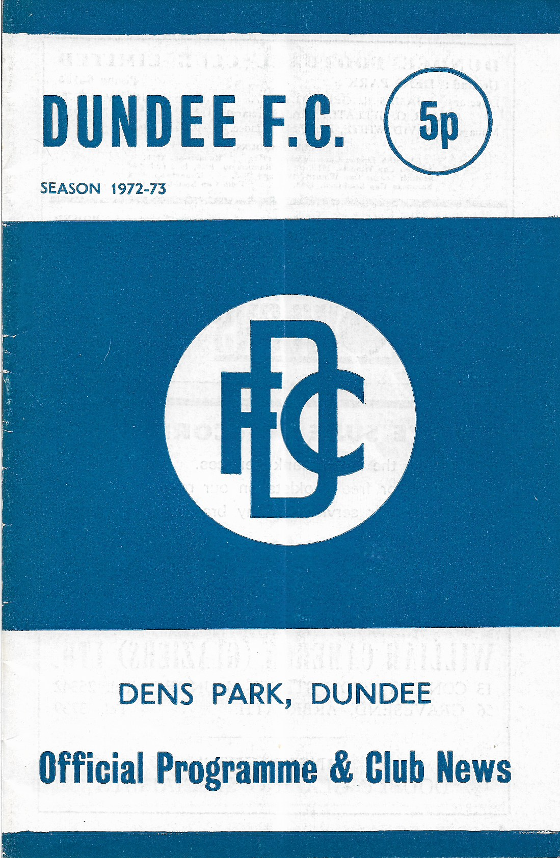 Programme Cover versus Dundee