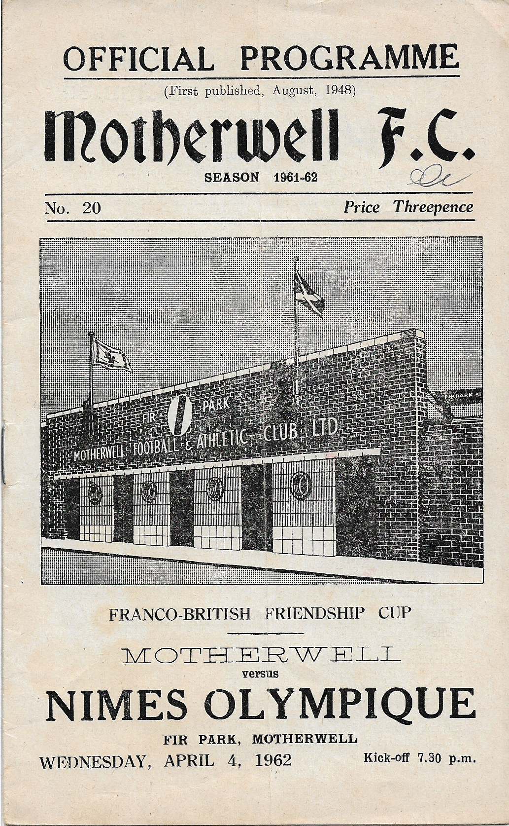 Programme Cover versus Nimes Olympique