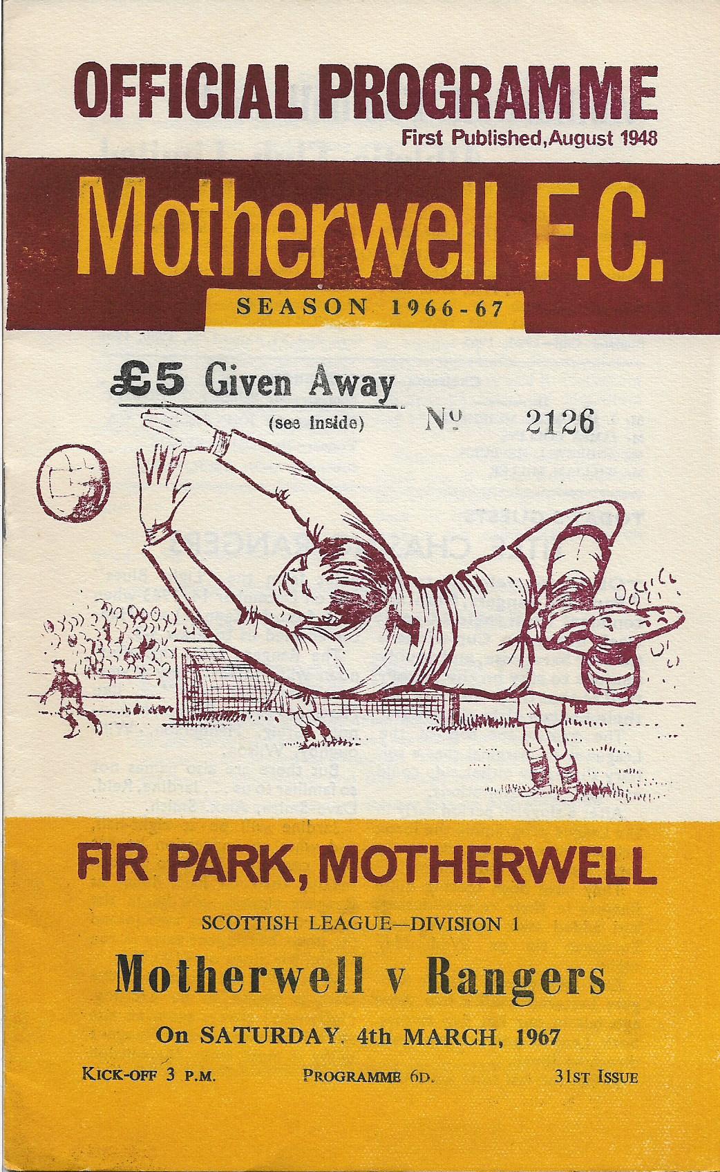 Programme Cover versus Rangers