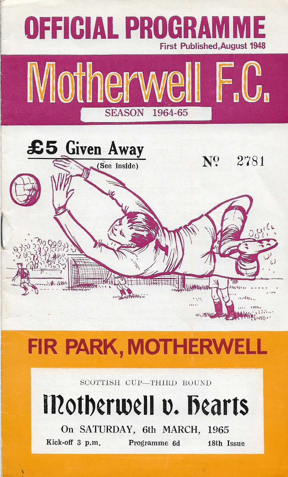 Programme Cover versus Hearts of Midlothian
