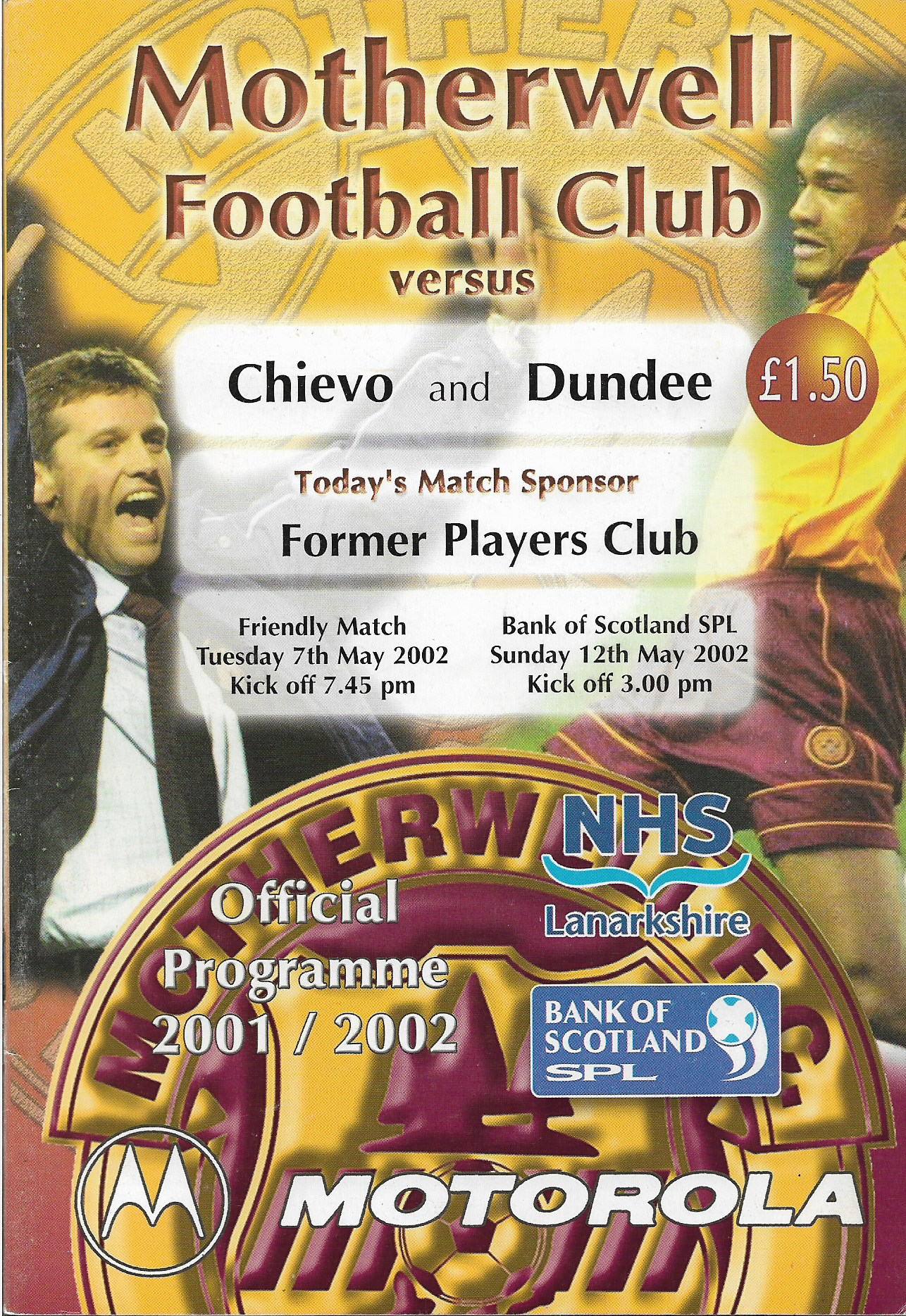 Programme Cover versus Dundee and Chievo - dual edition programme