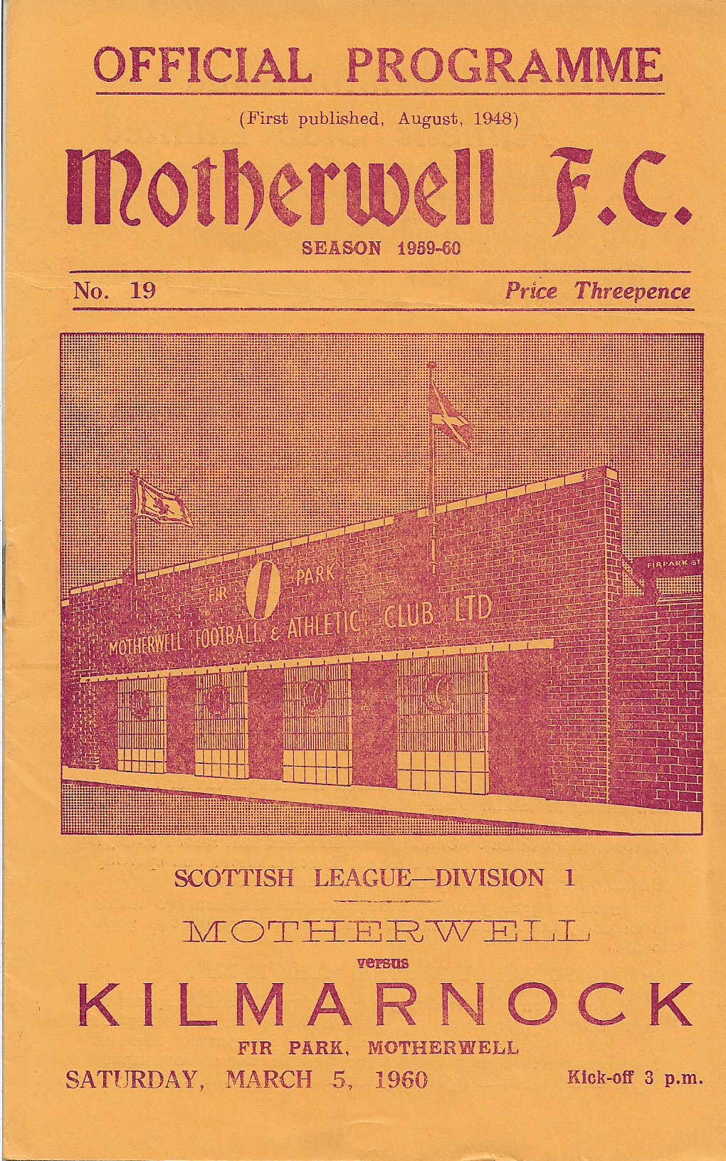 Kilmarnock Programme Cover - March 5th 1960