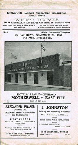 vs East Fife - Scottish League Programme Cover