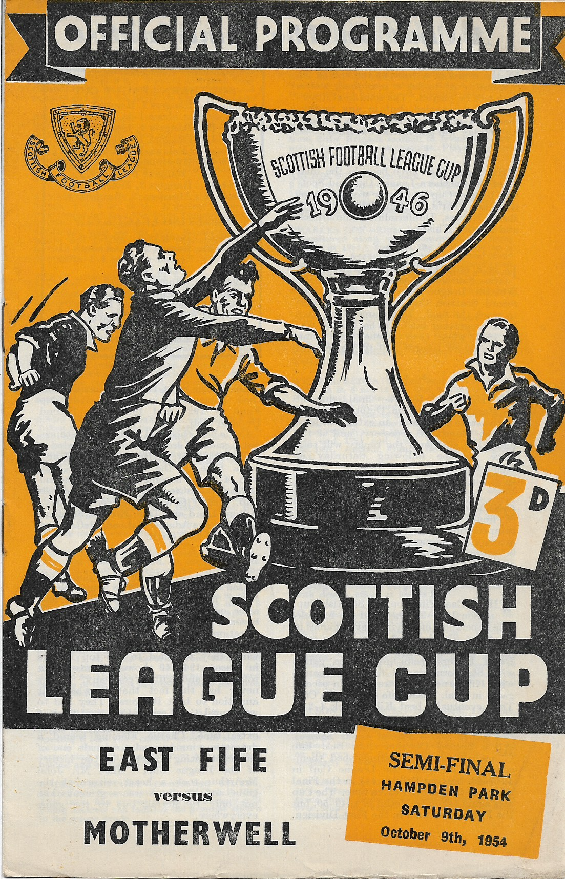League Cup Semi Final Programme Cover vs East Fife