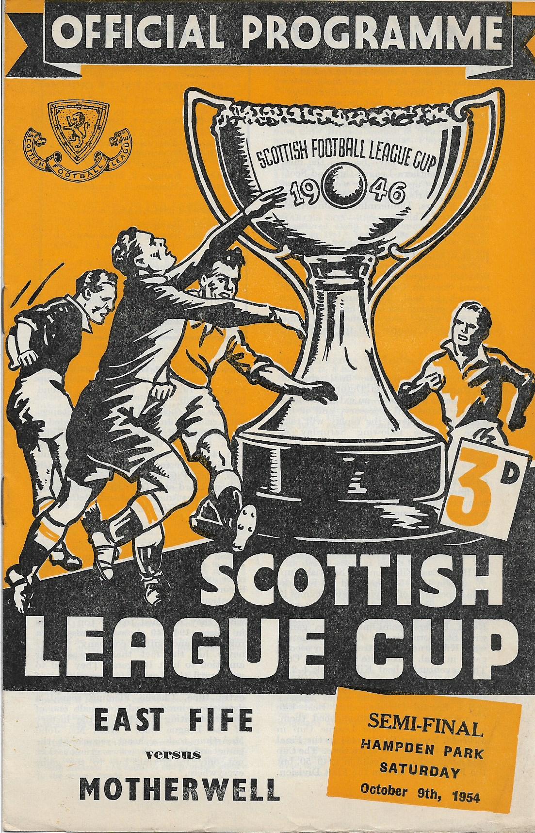 League Cup Semi Final Programme Cover vs East Fife