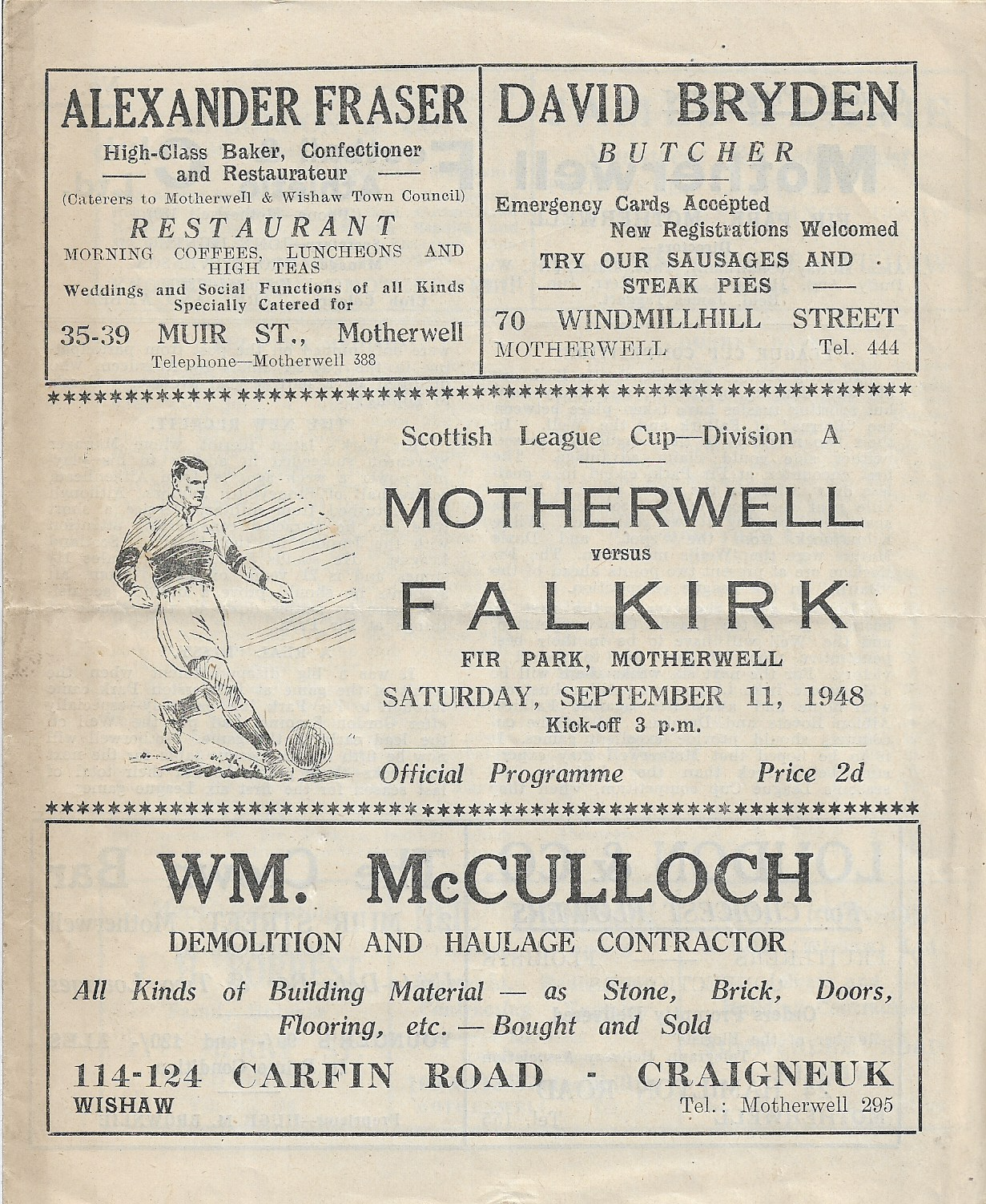 Programme Cover vs Falkirk 1948