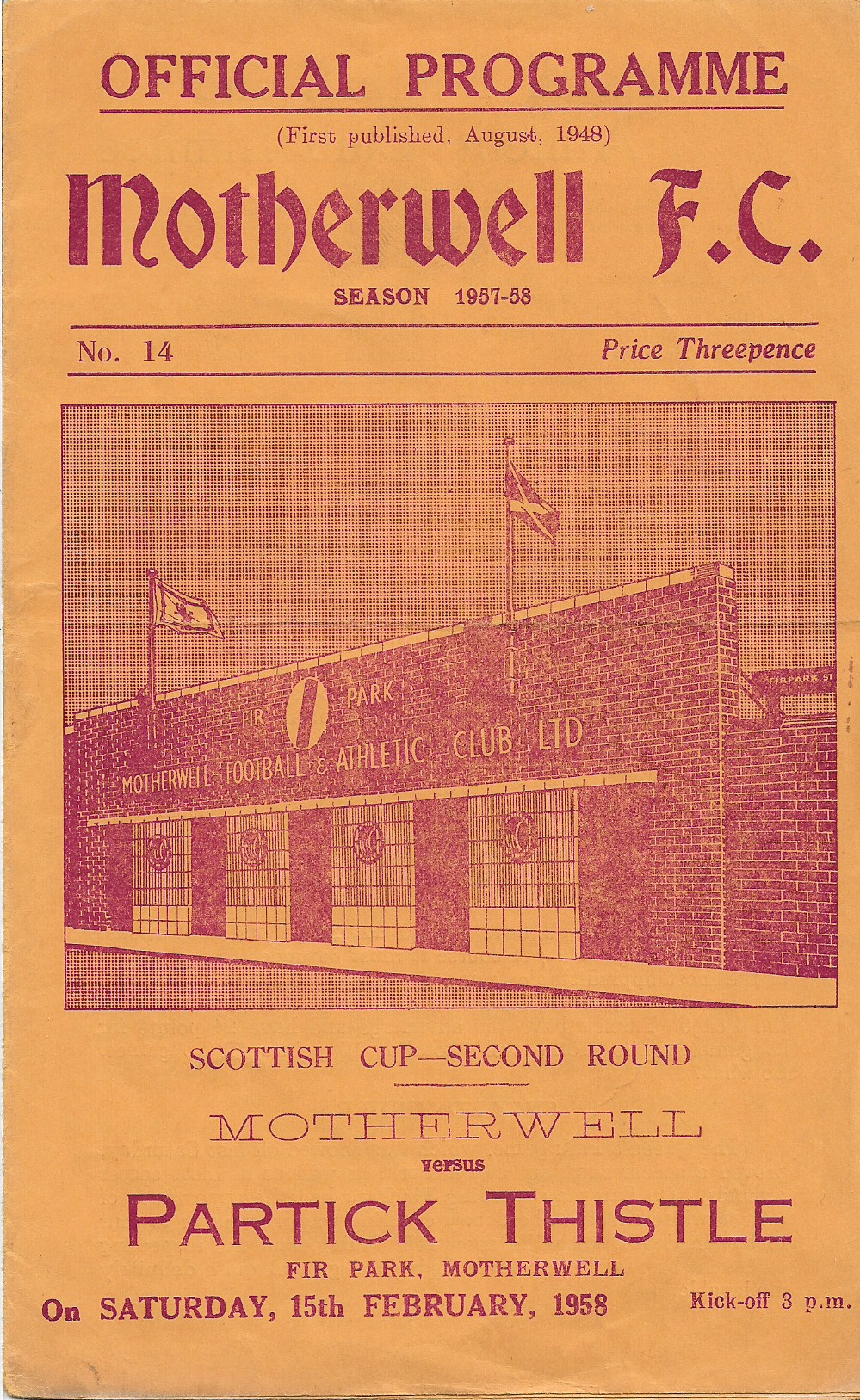 Motherwell vs Partick Thistle - Programme Cover