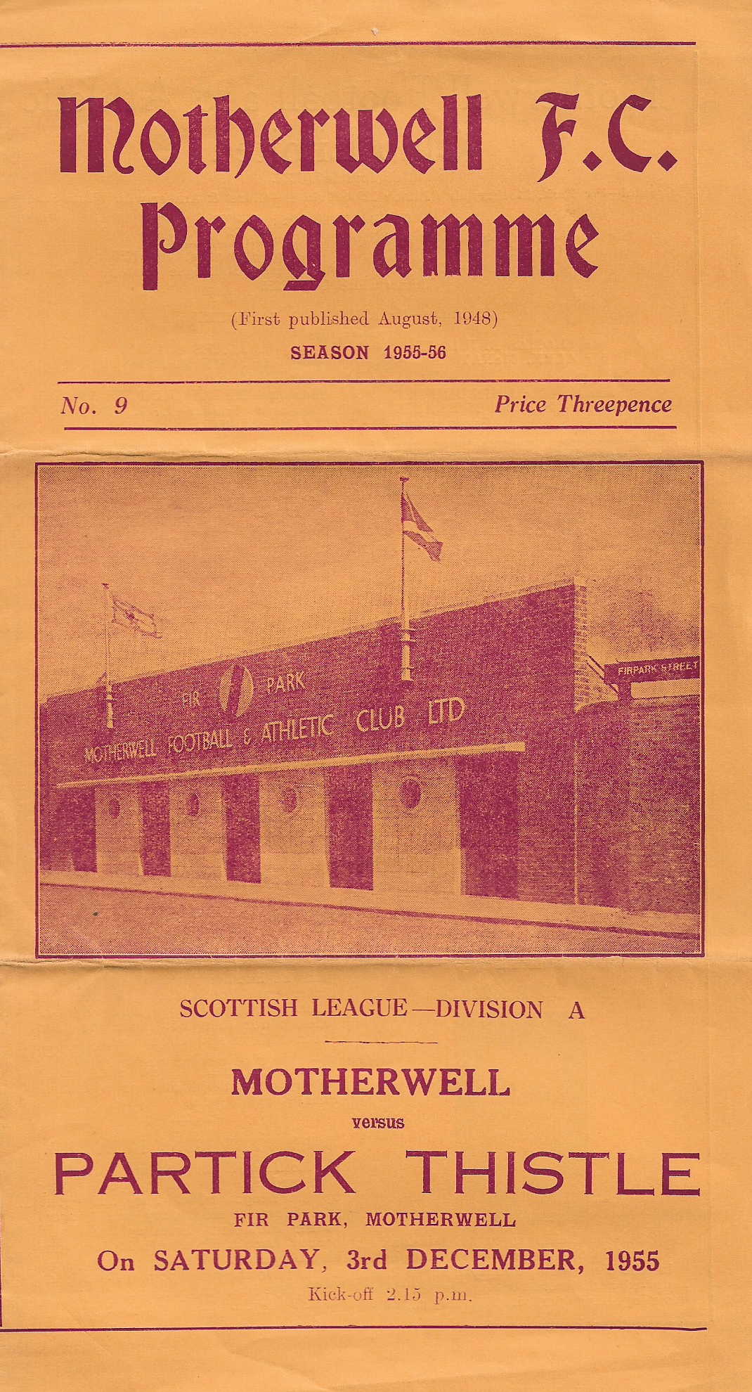 vs Partick Thistle - Programme Cover