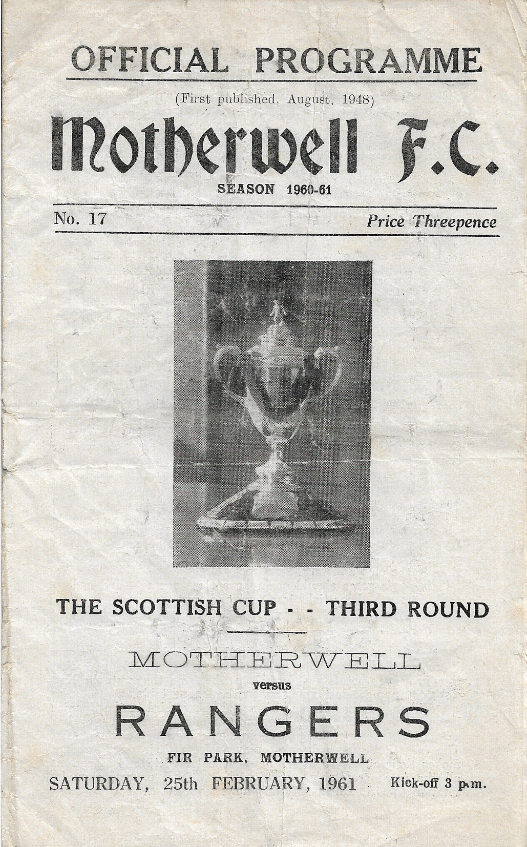 Rangers Programme Cover - Scottish Cup - 1961