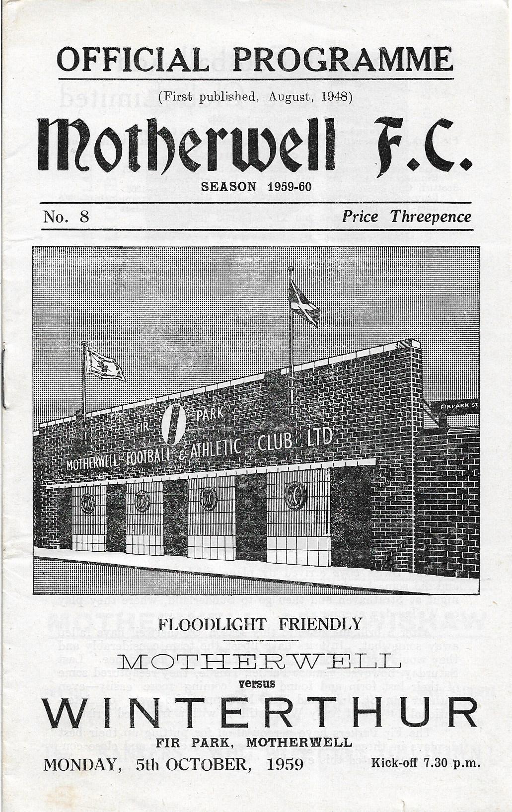 Motherwell versus Winterthur - Programme Cover