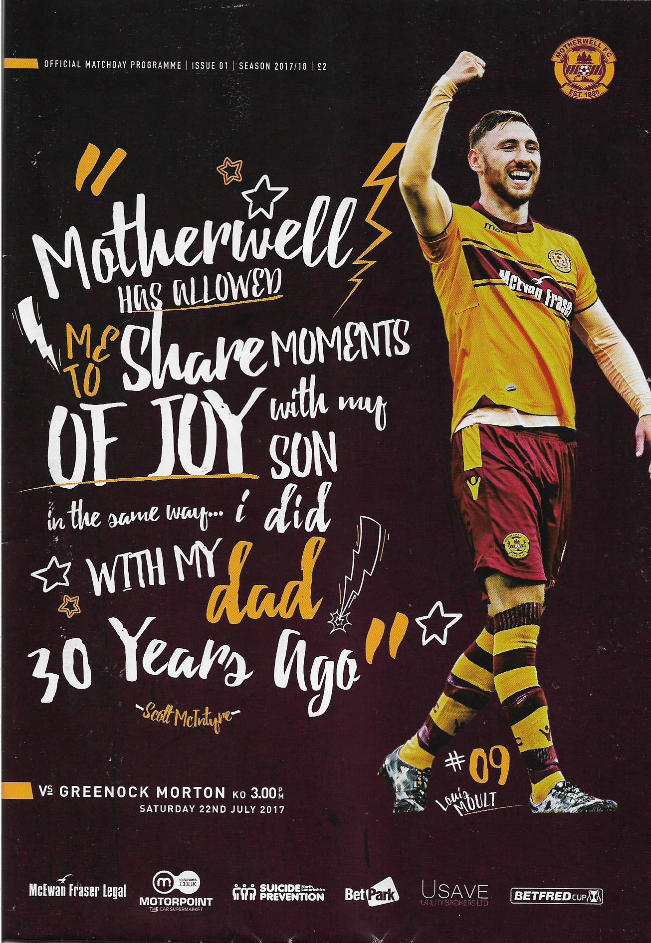 Programme Cover versus Greenock Morton