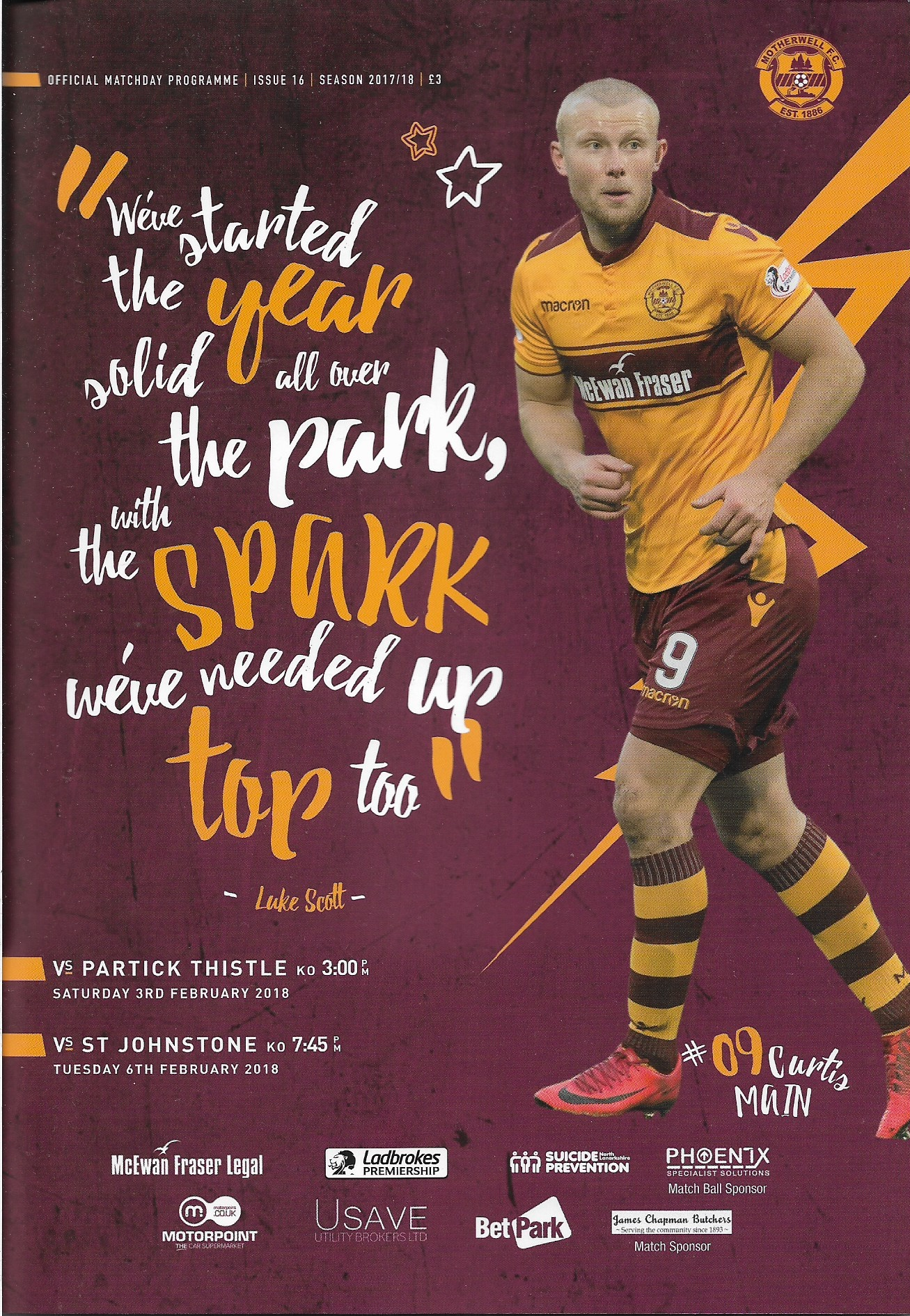 Double Programme Cover - Versus Partick Thistle and St Johnstone