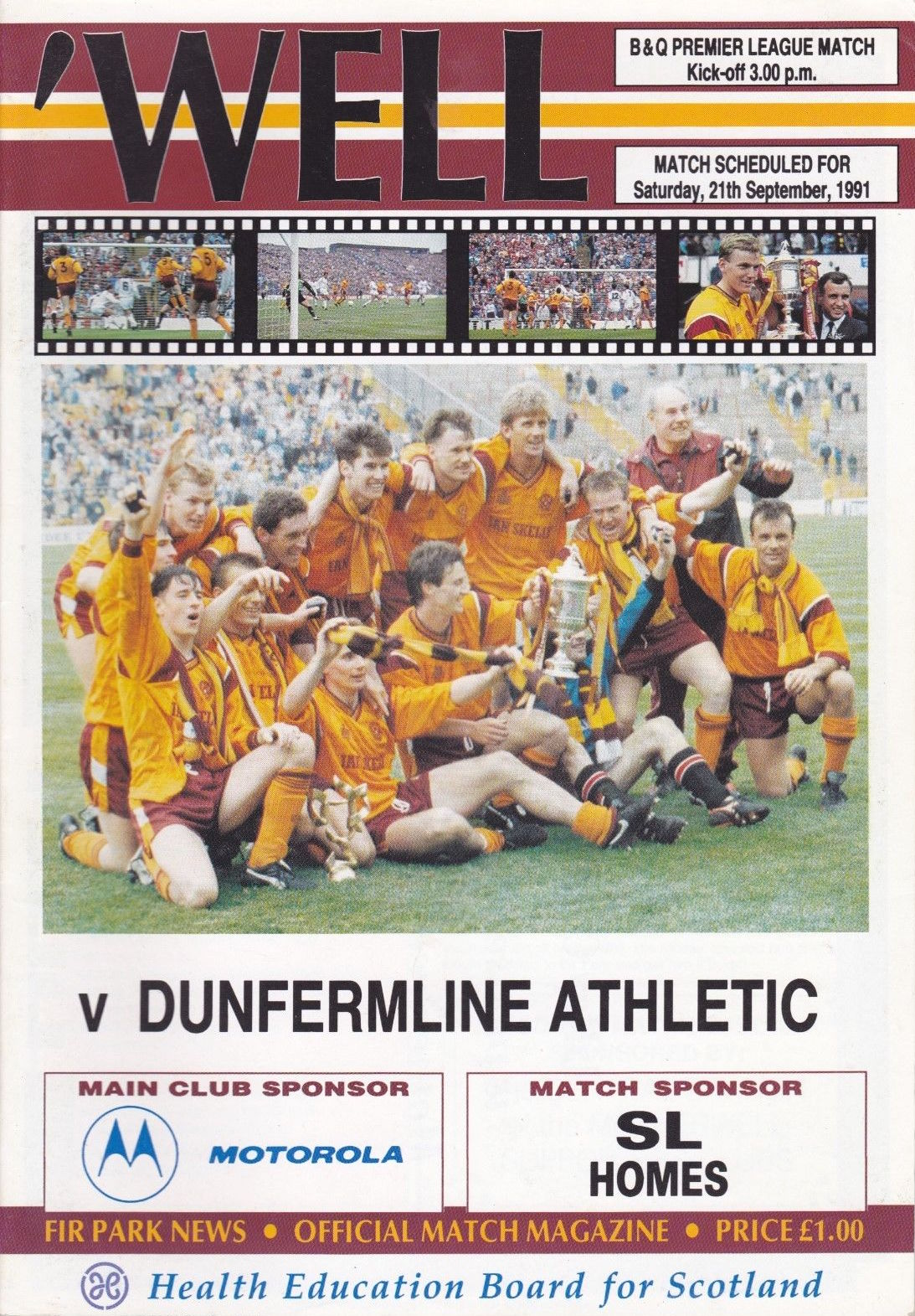 versus Dunfermline Programme Cover