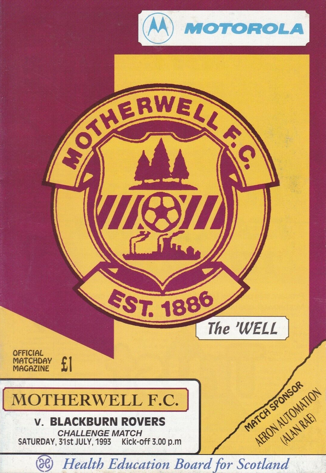 versus Blackburn Rovers Programme Cover