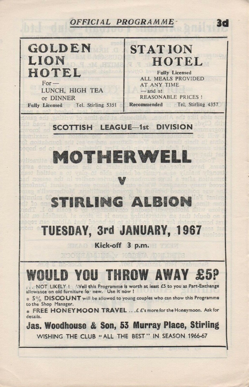versus Stirling Albion Programme Cover