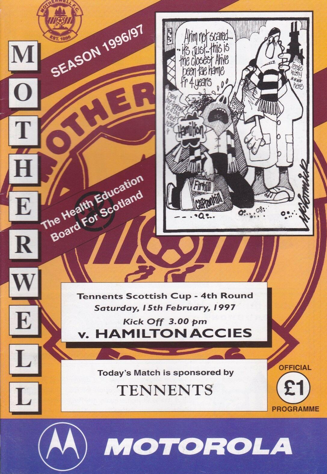 versus Hamilton Accies Programme Cover