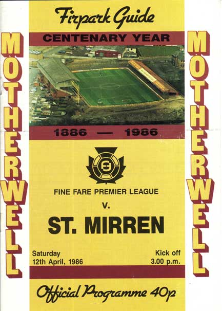 versus St Mirren Programme Cover