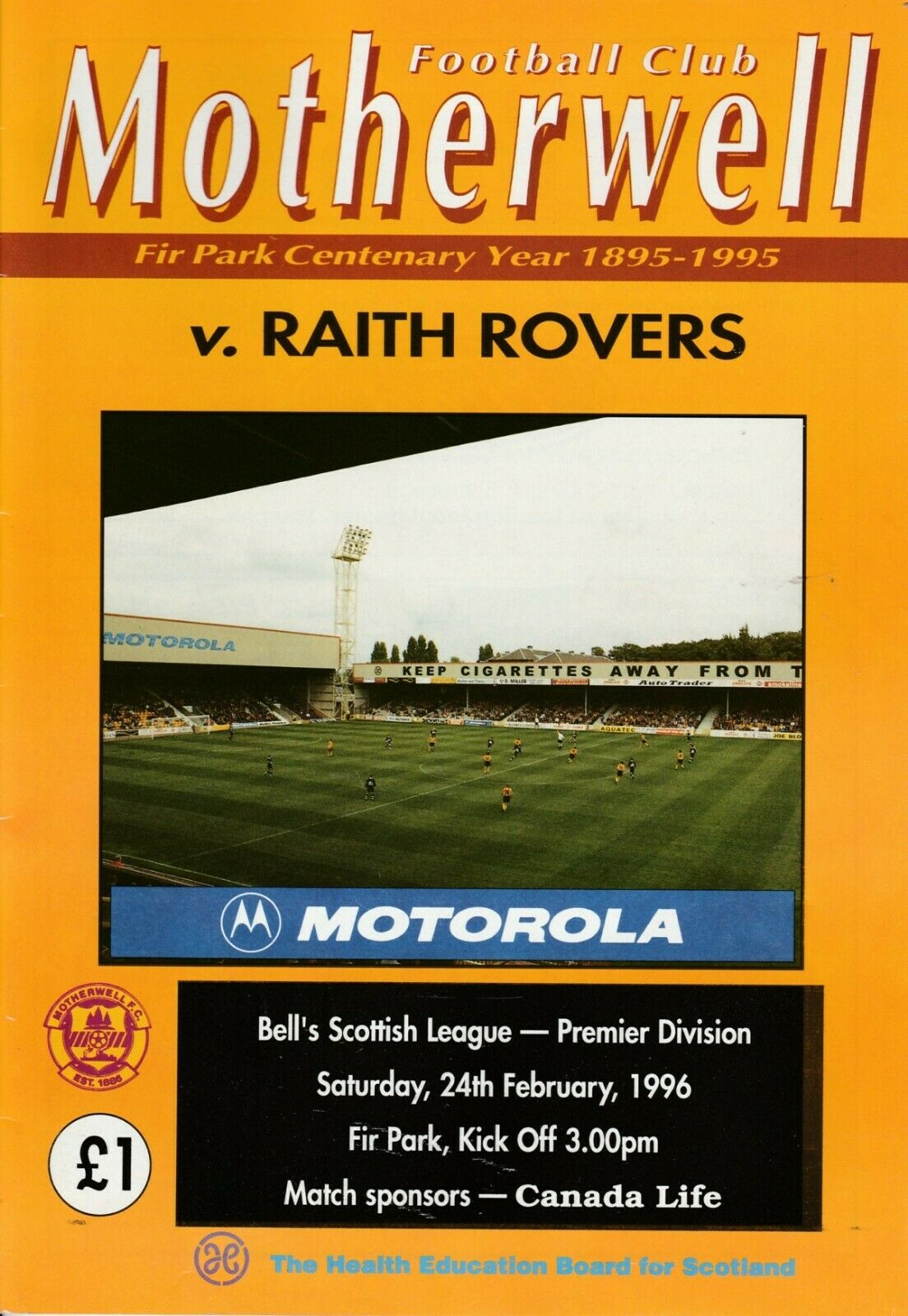versus Raith Rovers Programme Cover