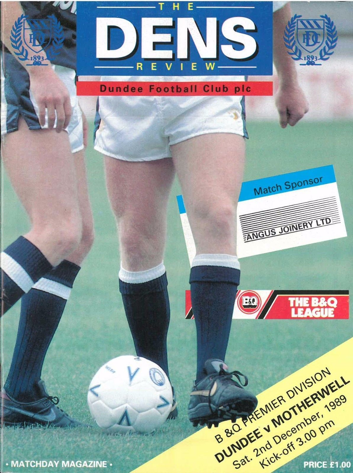 versus Dundee Programme Cover