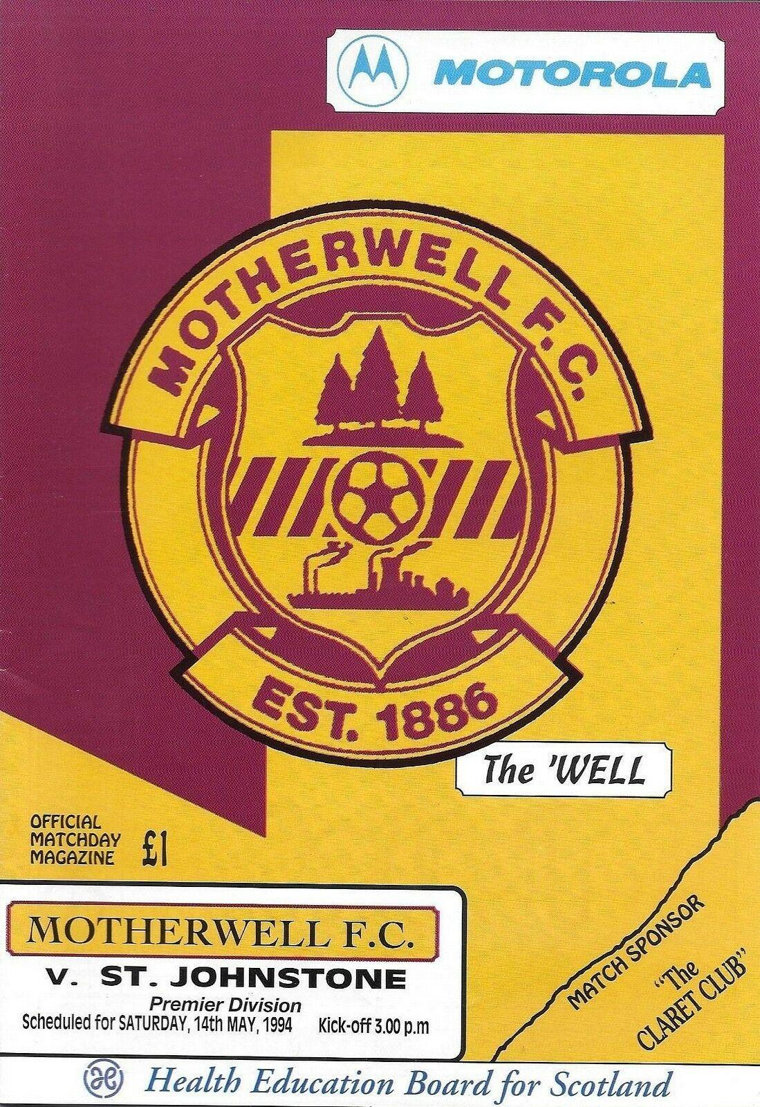 versus St Johnstone Programme Cover
