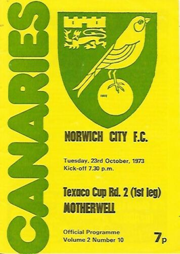 Texaco Cup - versus Norwich City Programme Cover