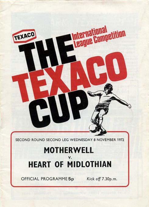 versus Hearts Programme Cover - Texaco Cup