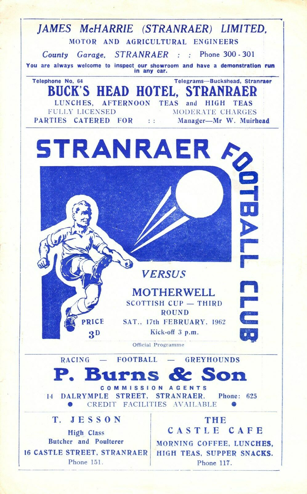 versus Stranraer Programme Cover