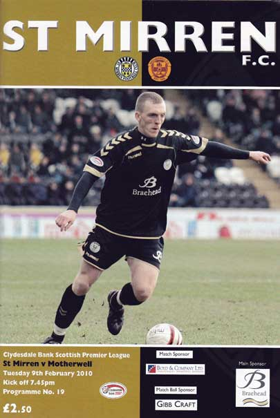 versus St Mirren Programme Cover (Incorrect date - should be March)