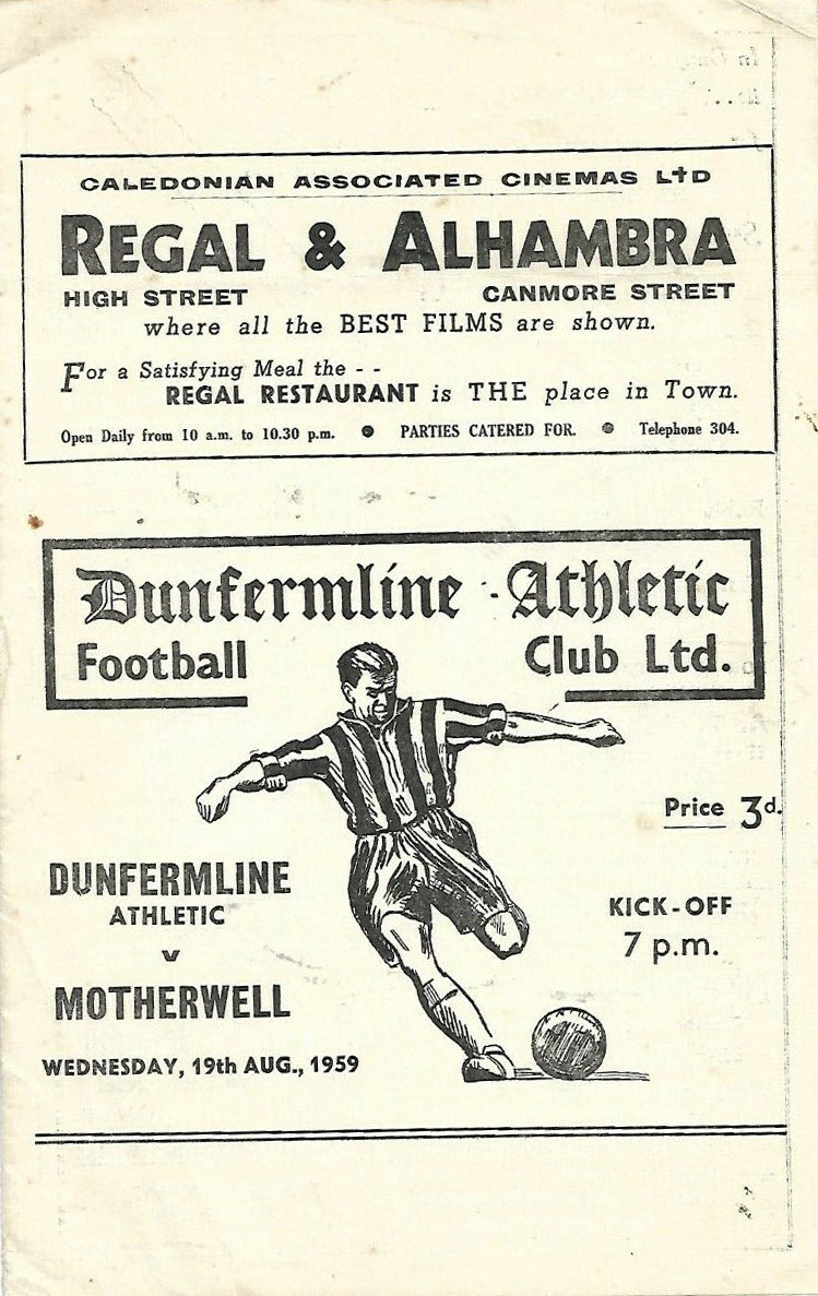 Programme Cover versus Dunfermline Athletic