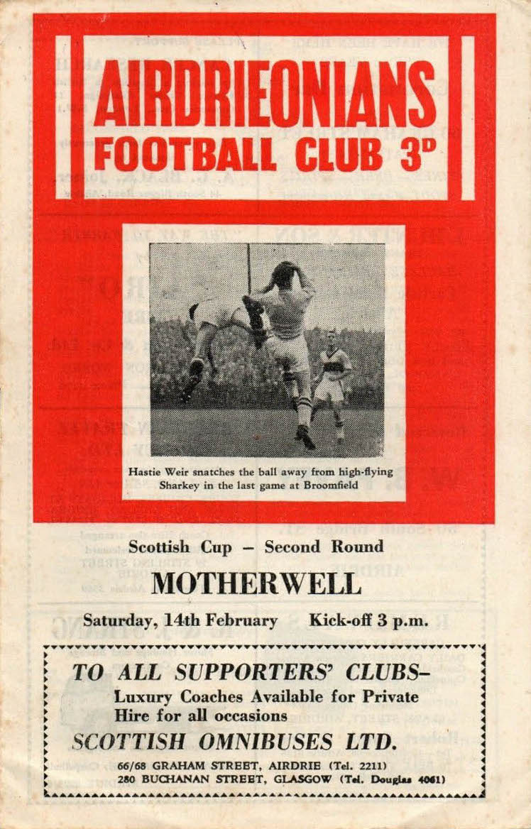 versus Airdrieonians Programme Cover