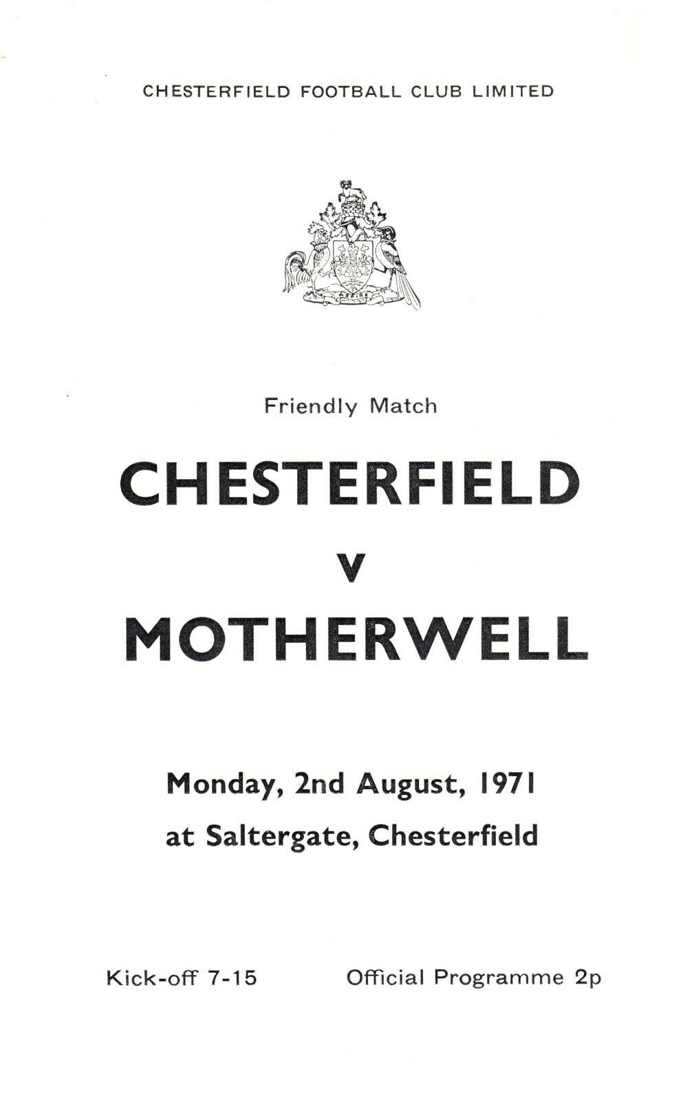 versus Chesterfield Programme Cover