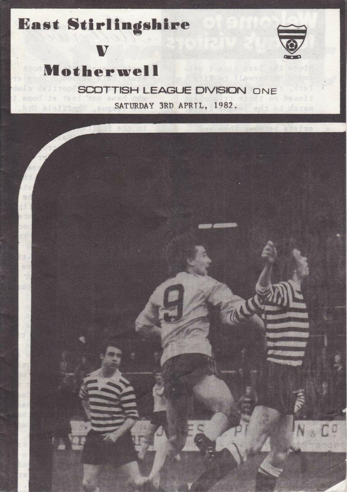 versus East Stirlingshire Programme Cover