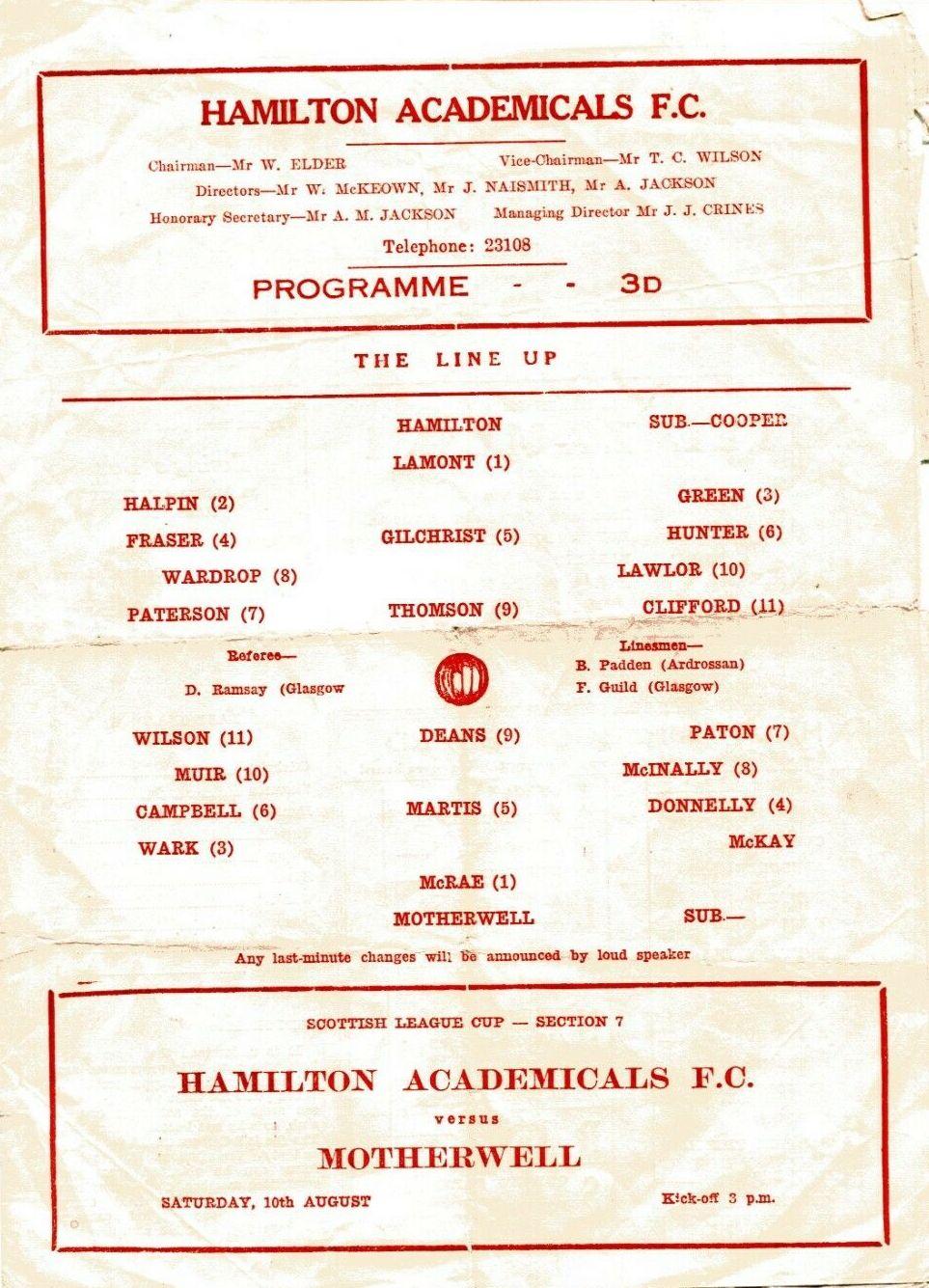 versus Hamilton Academical Programme Cover