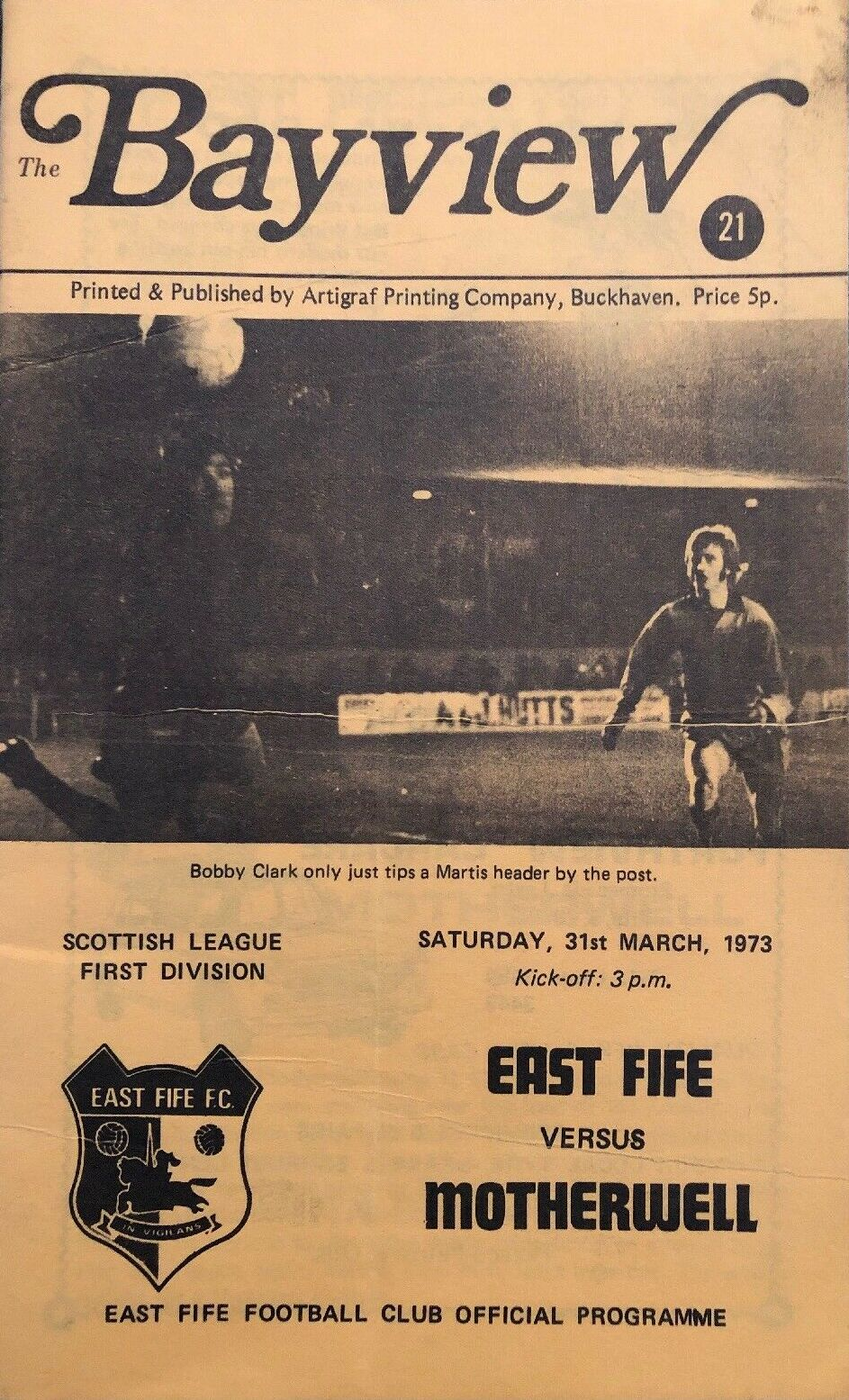 versus East Fife Programme Cover